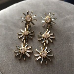J Crew sparkly floral statement earrings